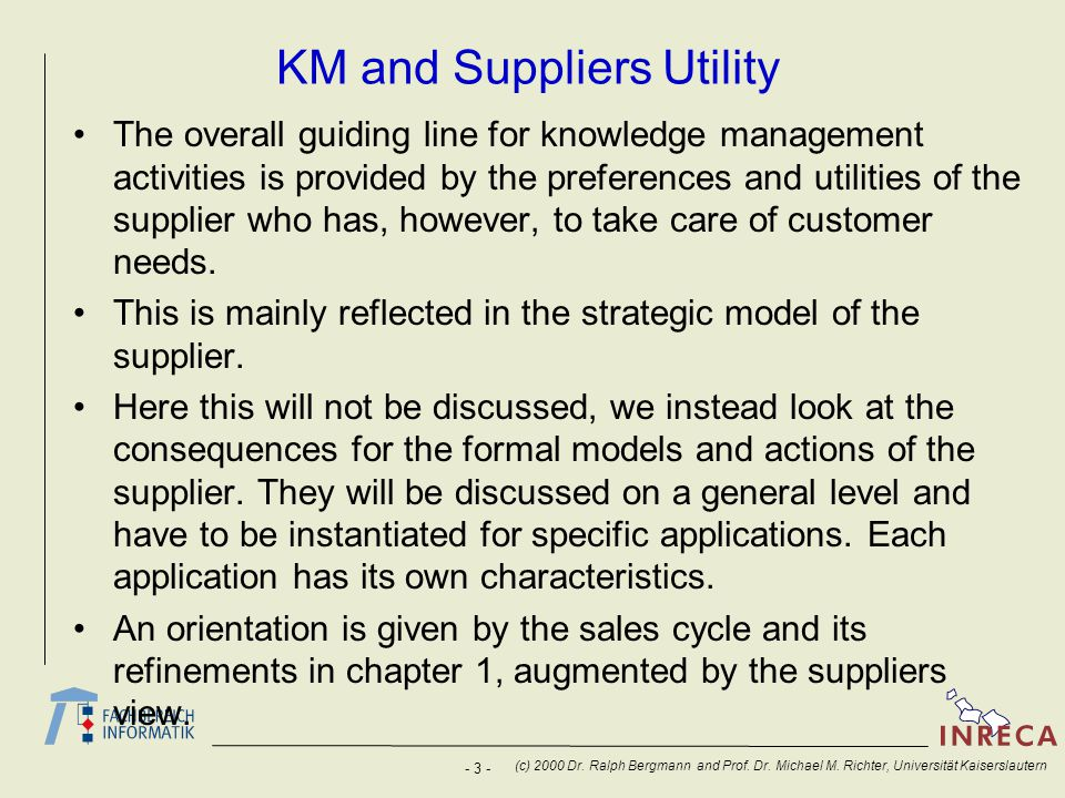 KM and Suppliers Utility