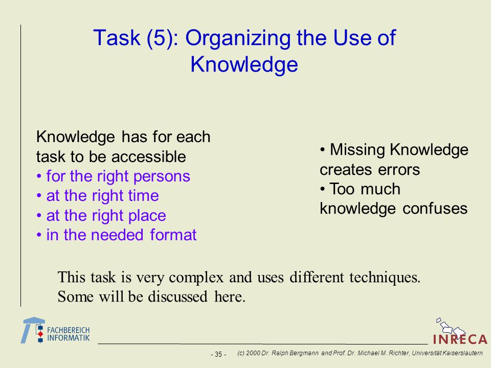 Task (5): Organizing the Use of Knowledge