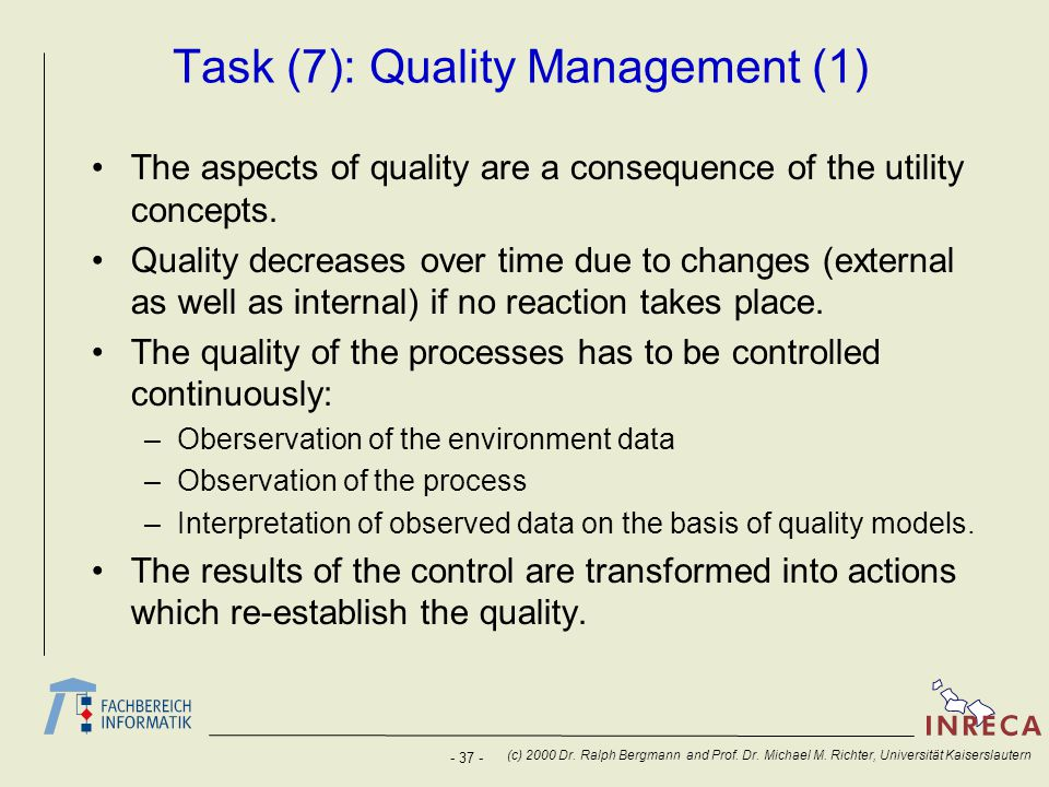 Task (7): Quality Management (1)