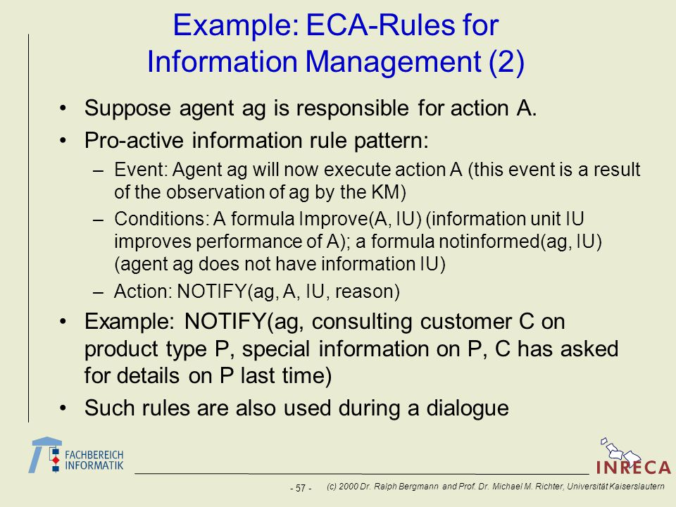 Example: ECA-Rules for Information Management (2)