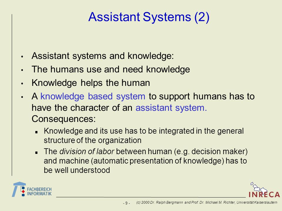 Assistant Systems (2) Assistant systems and knowledge: