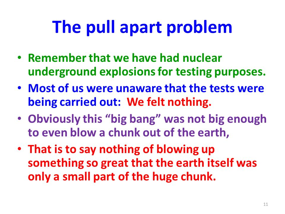 The pull apart problem Remember that we have had nuclear underground explosions for testing purposes.