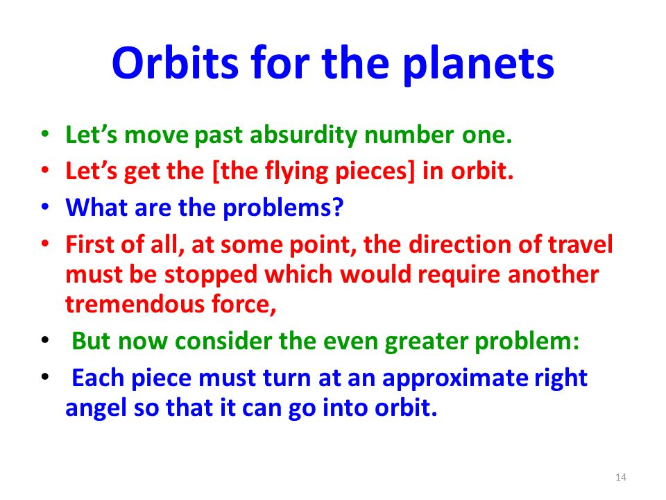 Orbits for the planets Let's move past absurdity number one.