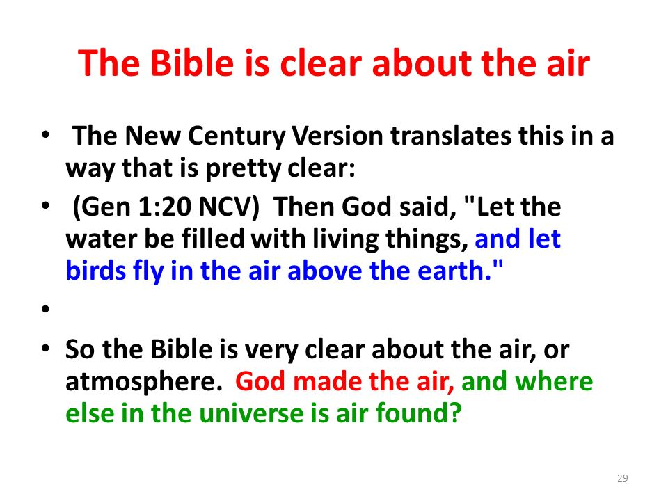 The Bible is clear about the air