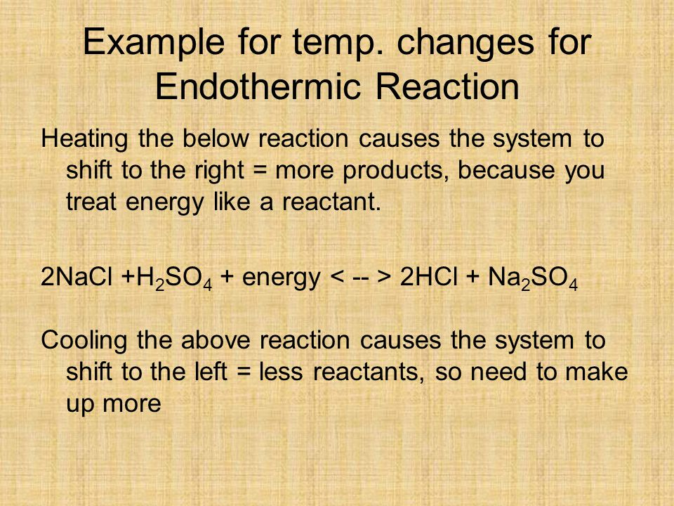 Example for temp. changes for Endothermic Reaction