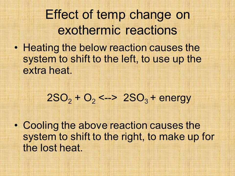 Effect of temp change on exothermic reactions