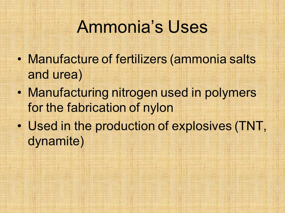 Ammonia's Uses Manufacture of fertilizers (ammonia salts and urea)