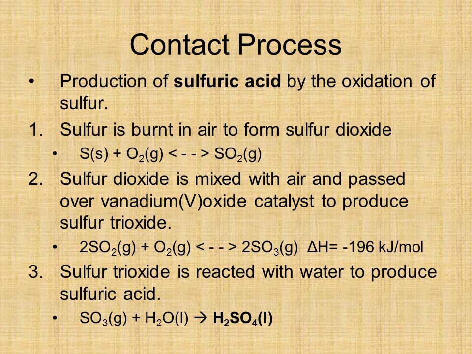 Contact Process Production of sulfuric acid by the oxidation of sulfur. Sulfur is burnt in air to form sulfur dioxide.