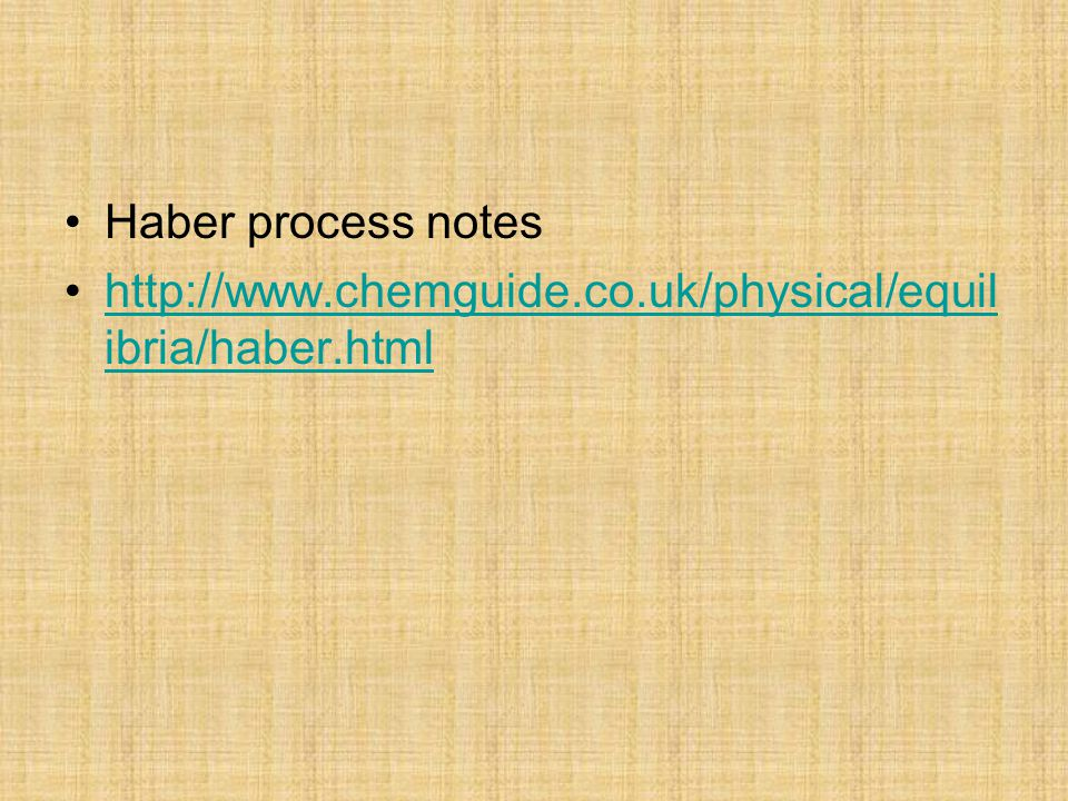 Haber process notes