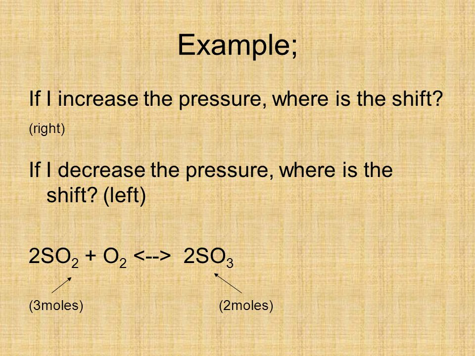 Example; If I increase the pressure, where is the shift (right)