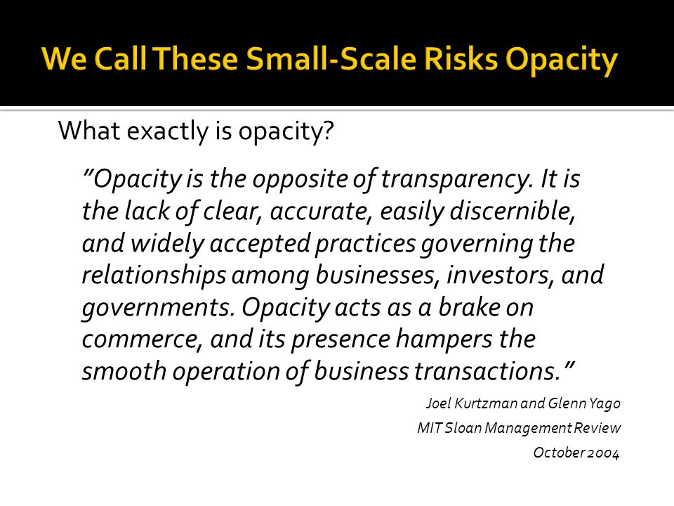 We Call These Small-Scale Risks Opacity