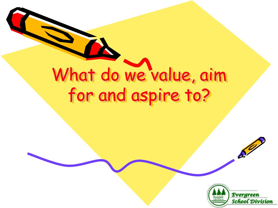 What do we value, aim for and aspire to