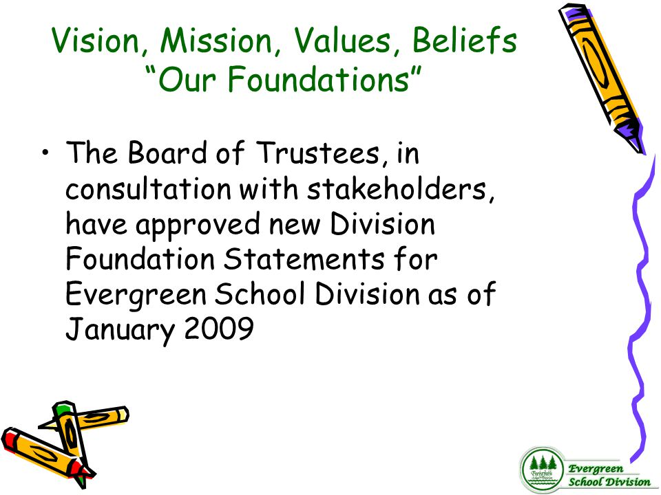 Vision, Mission, Values, Beliefs Our Foundations