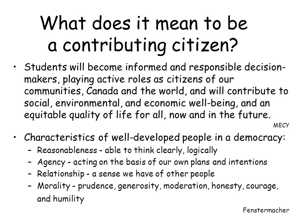 What does it mean to be a contributing citizen