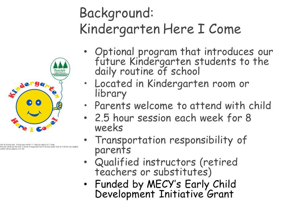 Background: Kindergarten Here I Come