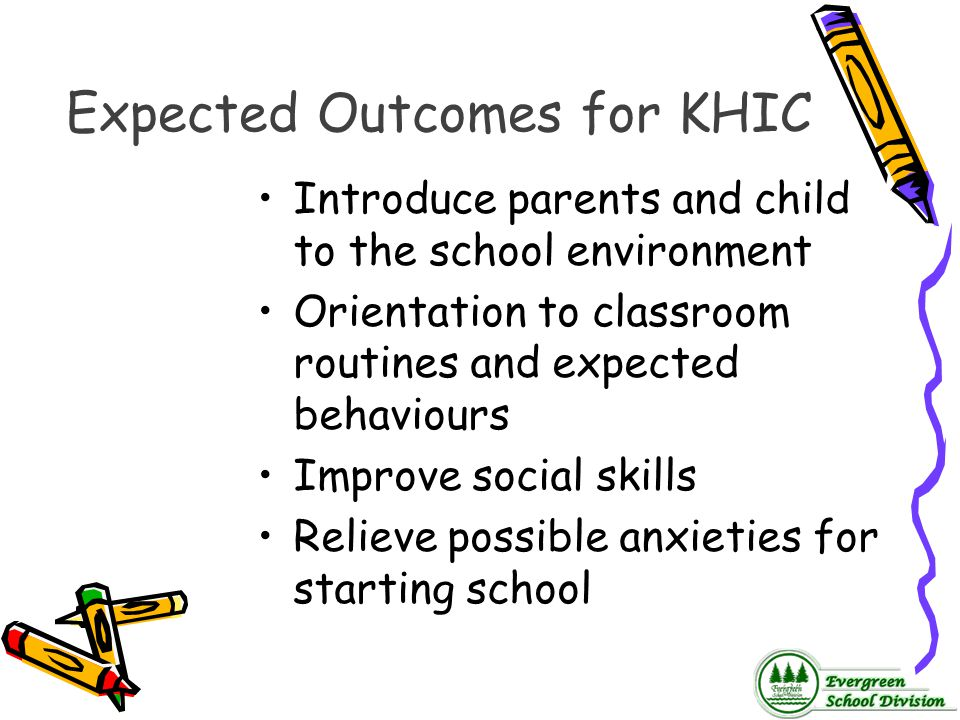 Expected Outcomes for KHIC