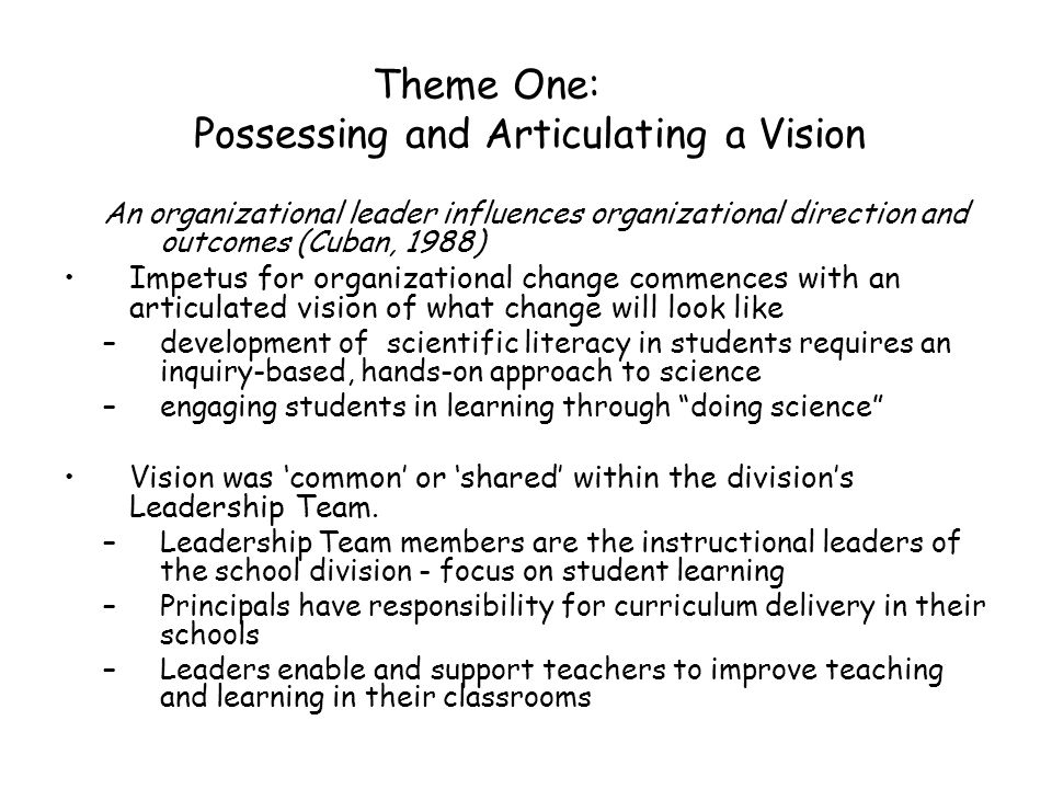 Theme One: Possessing and Articulating a Vision