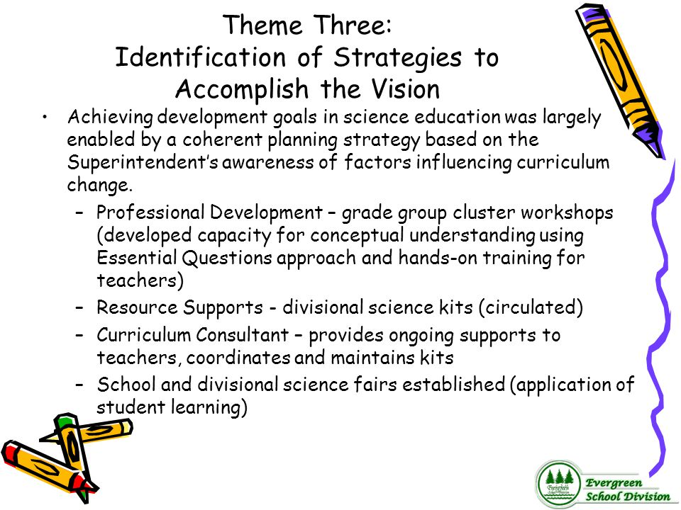 Theme Three: Identification of Strategies to Accomplish the Vision