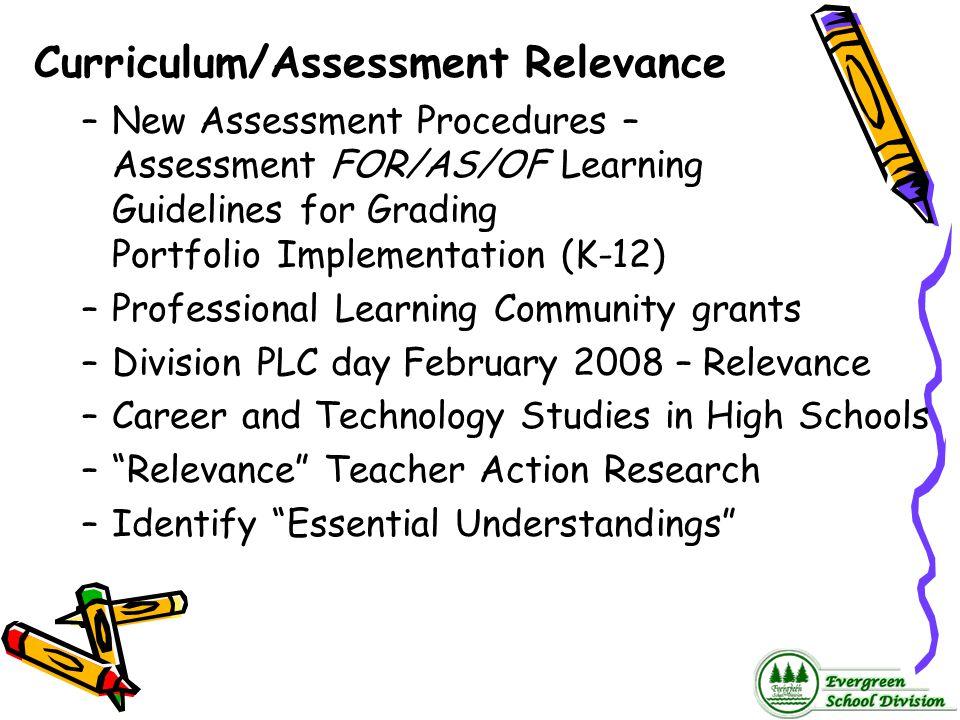 Curriculum/Assessment Relevance