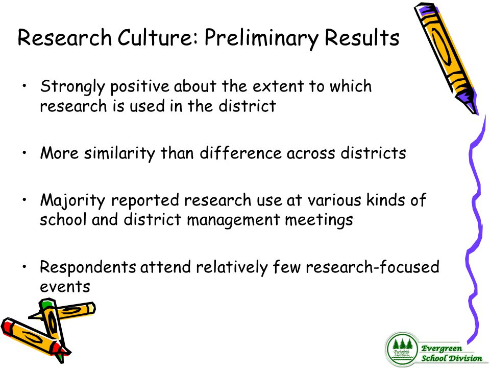 Research Culture: Preliminary Results