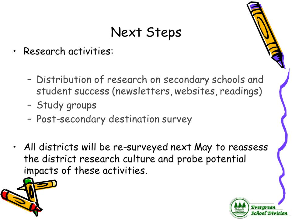 Next Steps Research activities:
