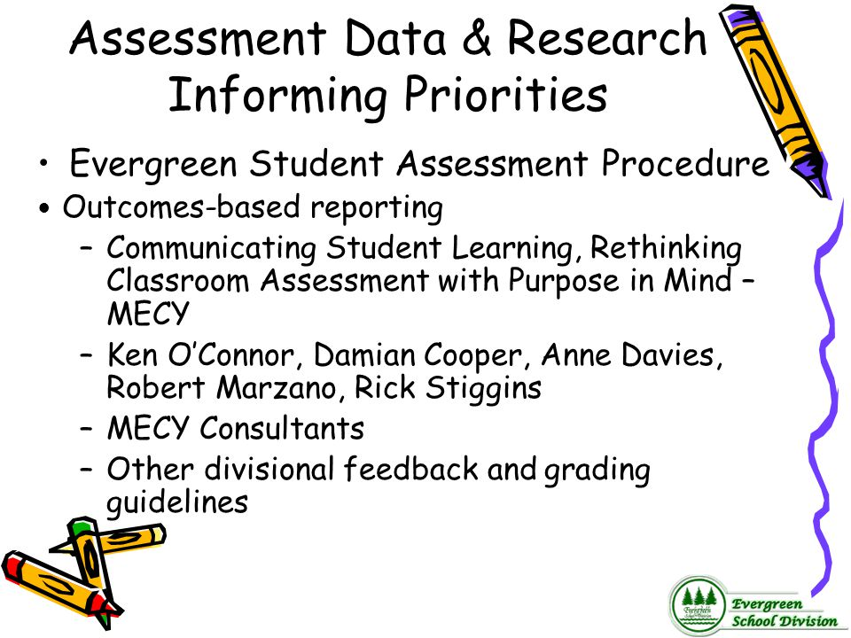 Assessment Data & Research Informing Priorities