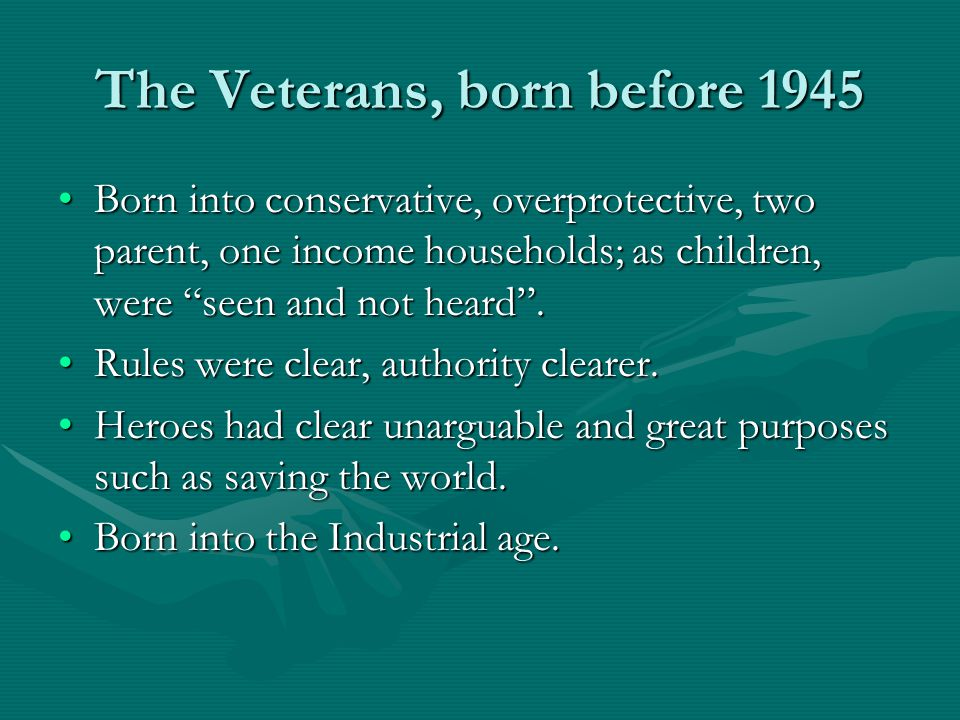The Veterans, born before 1945