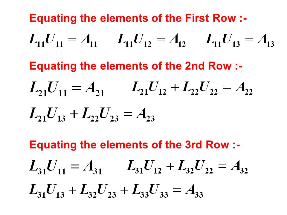 Equating the elements of the First Row :-