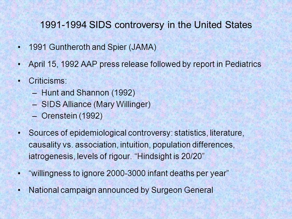 SIDS controversy in the United States