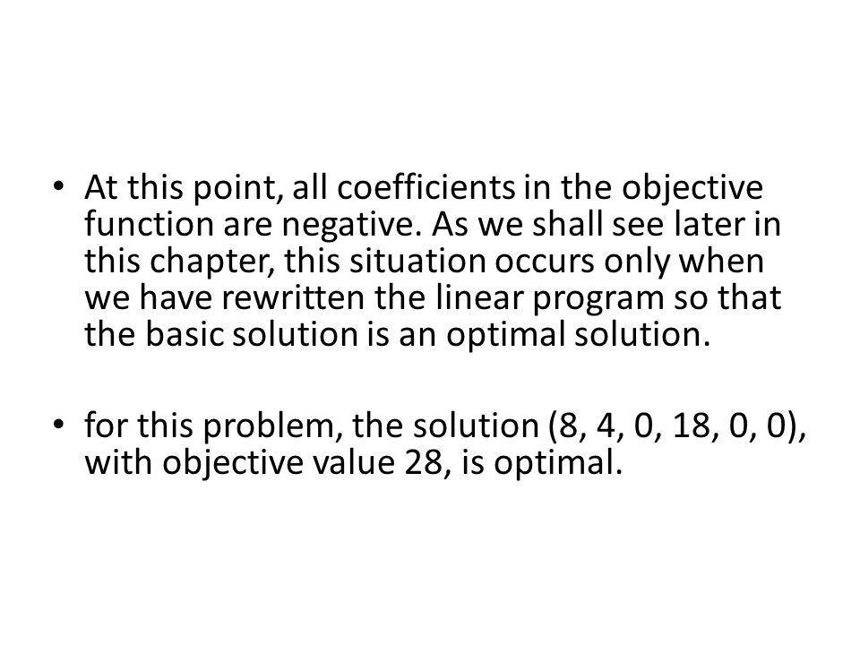 At this point, all coefficients in the objective function are negative
