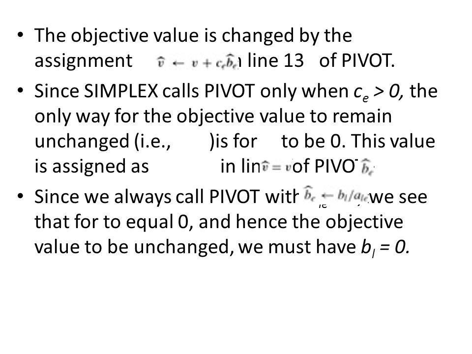 The objective value is changed by the assignment in line 13 of PIVOT.