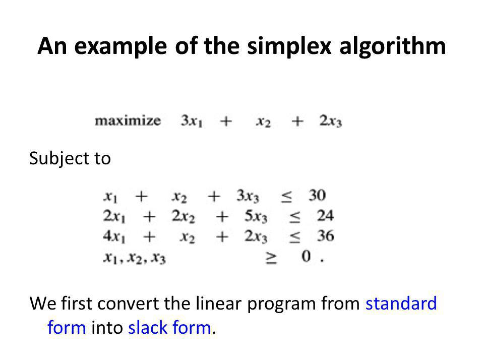 An example of the simplex algorithm