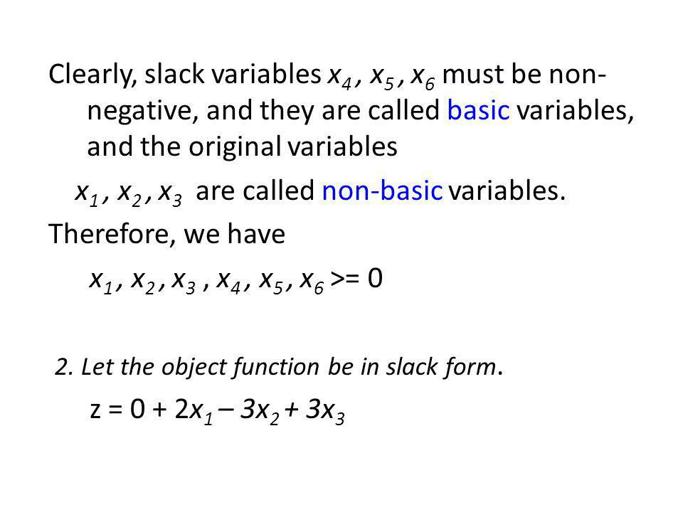 Clearly, slack variables x4 , x5 , x6 must be non-negative, and they are called basic variables, and the original variables