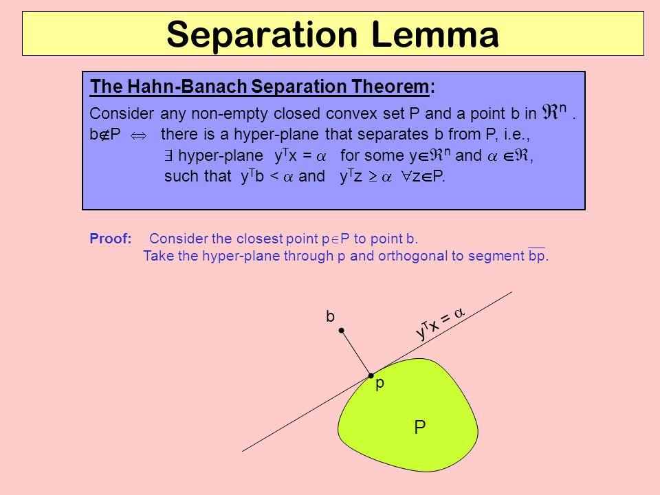 Separation Lemma The Hahn-Banach Separation Theorem: P