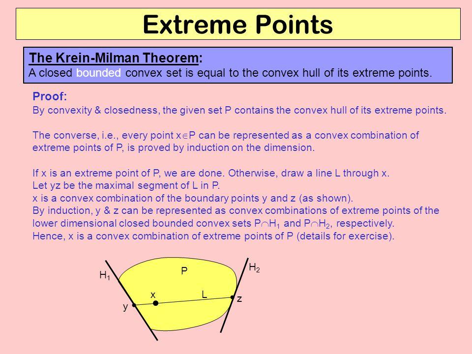 Extreme Points The Krein-Milman Theorem: