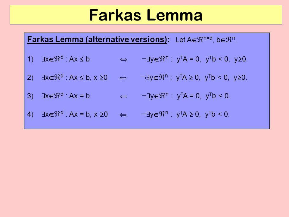 Farkas Lemma Farkas Lemma (alternative versions): Let And, bn.