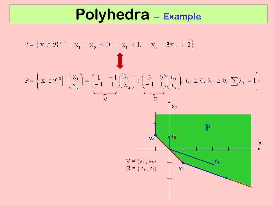 Polyhedra – Example P V R x2 r2 v2 x1 V = (v1 , v2) R = ( r1 , r2) r1