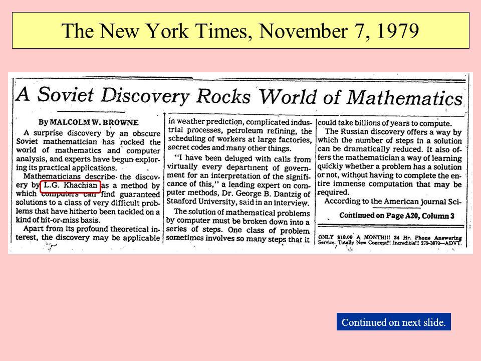 The New York Times, November 7, 1979