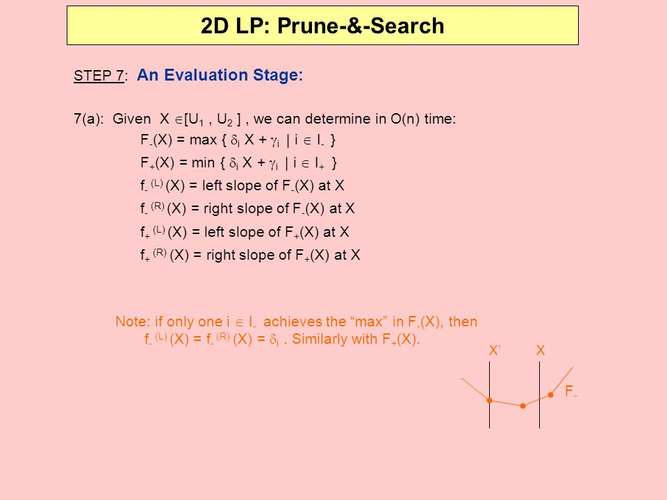 2D LP: Prune-&-Search STEP 7: An Evaluation Stage: