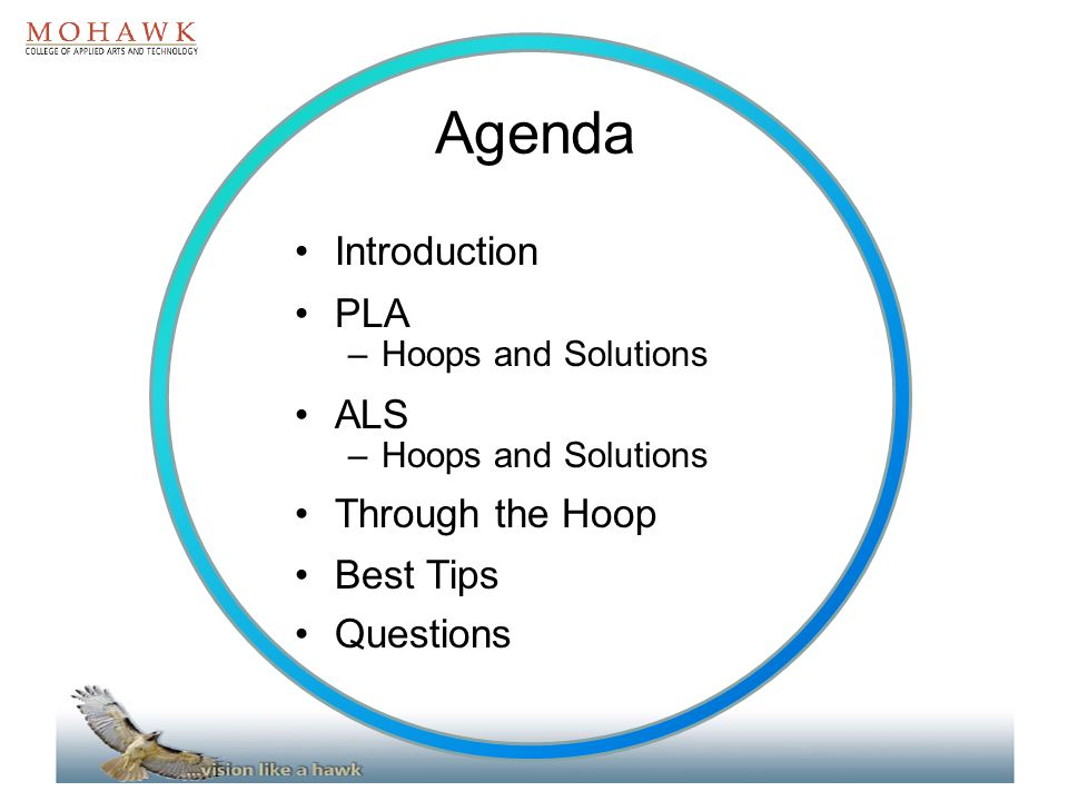 Agenda Introduction PLA ALS Through the Hoop Best Tips Questions
