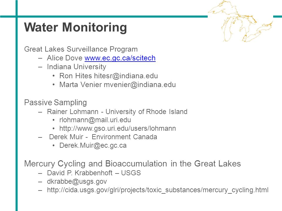 Water Monitoring Great Lakes Surveillance Program. Alice Dove www.ec.gc.ca/scitech. Indiana University.