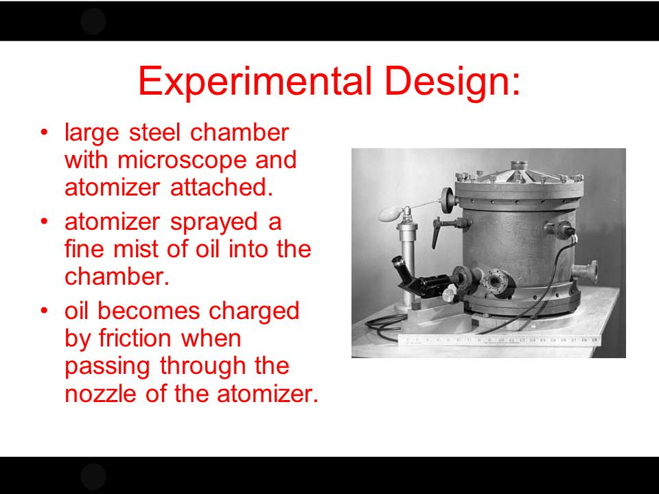 Experimental Design: large steel chamber with microscope and atomizer attached. atomizer sprayed a fine mist of oil into the chamber.