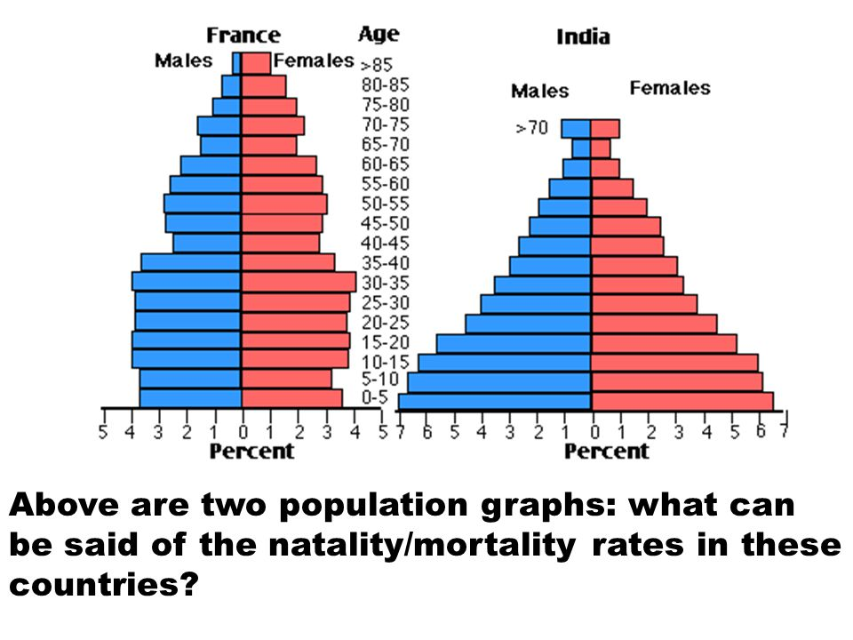Above are two population graphs: what can be said of the natality/mortality rates in these countries