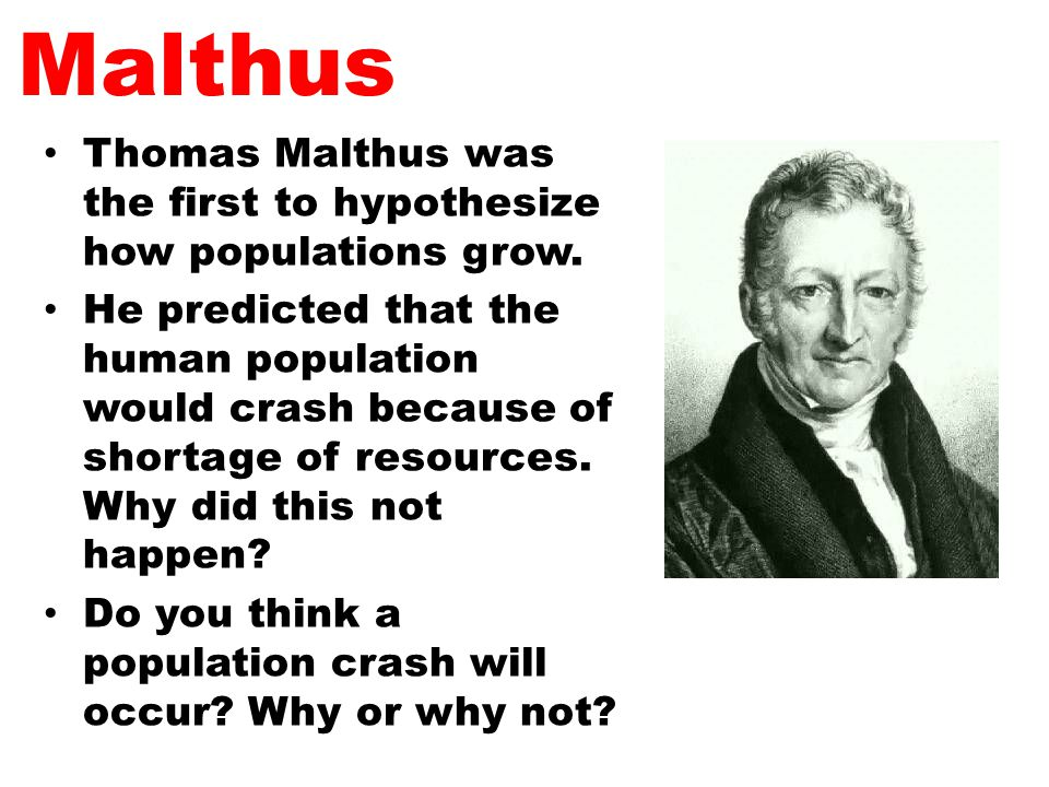 Malthus Thomas Malthus was the first to hypothesize how populations grow.