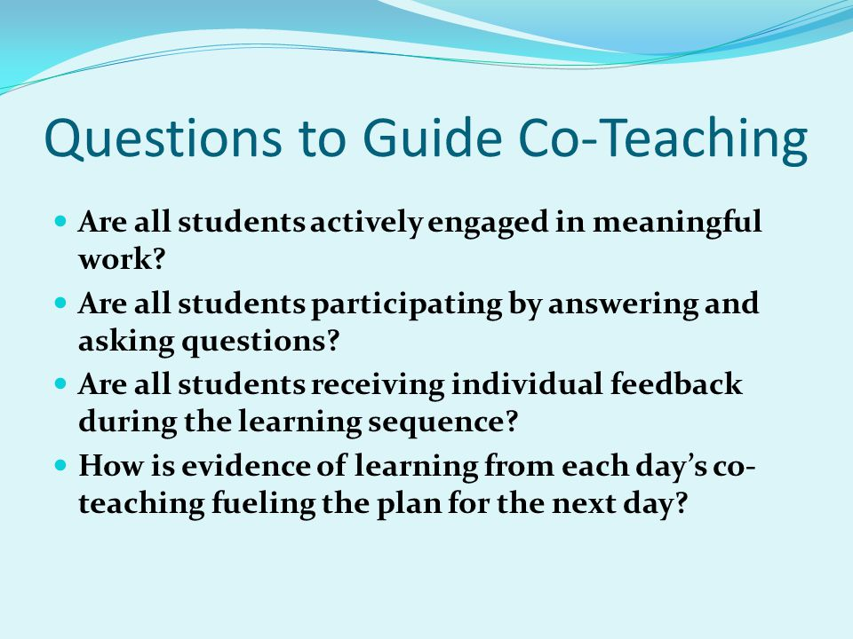 Questions to Guide Co-Teaching