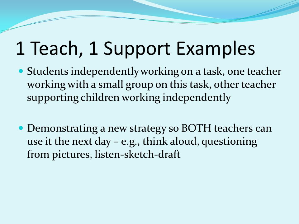1 Teach, 1 Support Examples