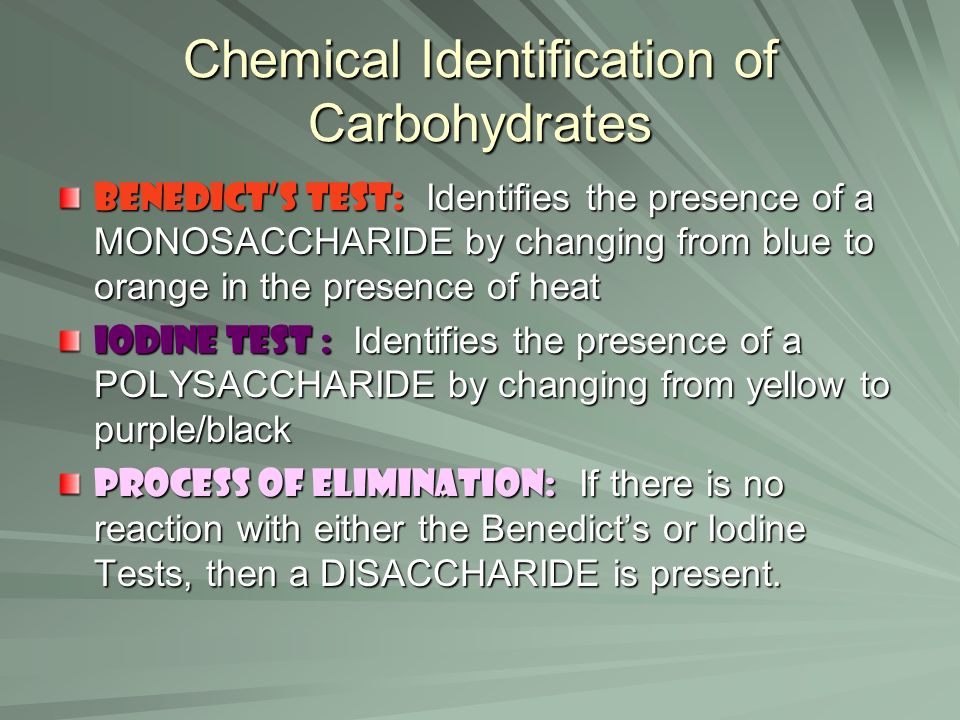 Chemical Identification of Carbohydrates