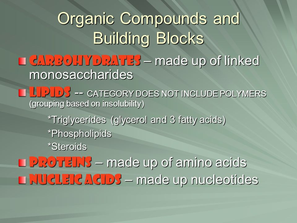 Organic Compounds and Building Blocks