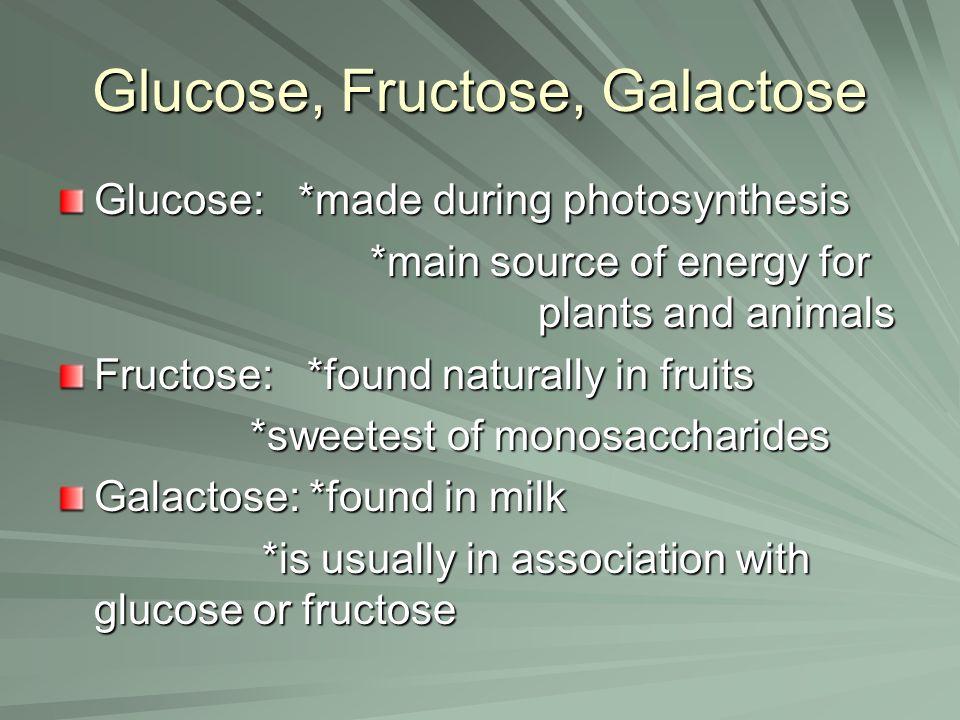 Glucose, Fructose, Galactose