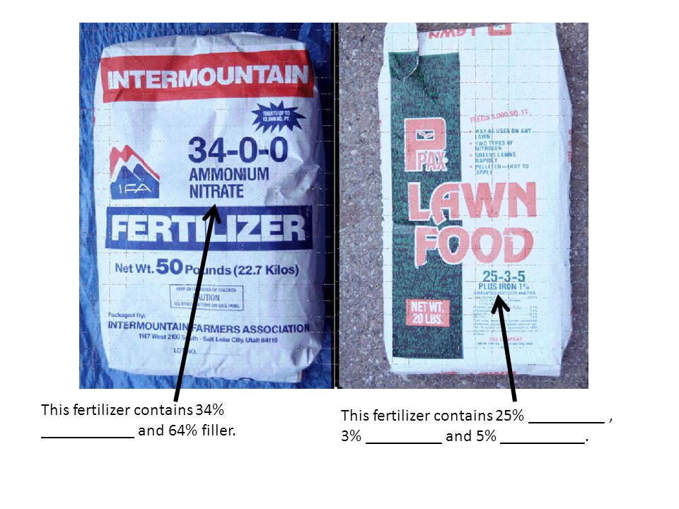 This fertilizer contains 34% ___________ and 64% filler.